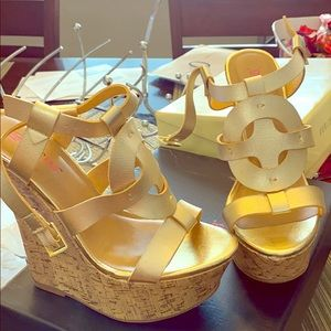 Brand new gold wedges